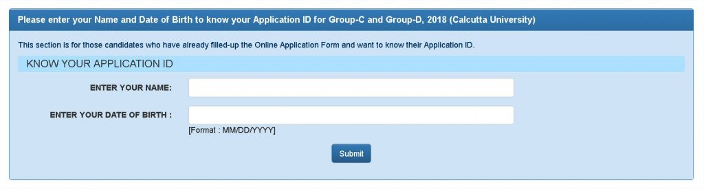 Group-C and Group-D 2018 Know Your Application Form WBSSC